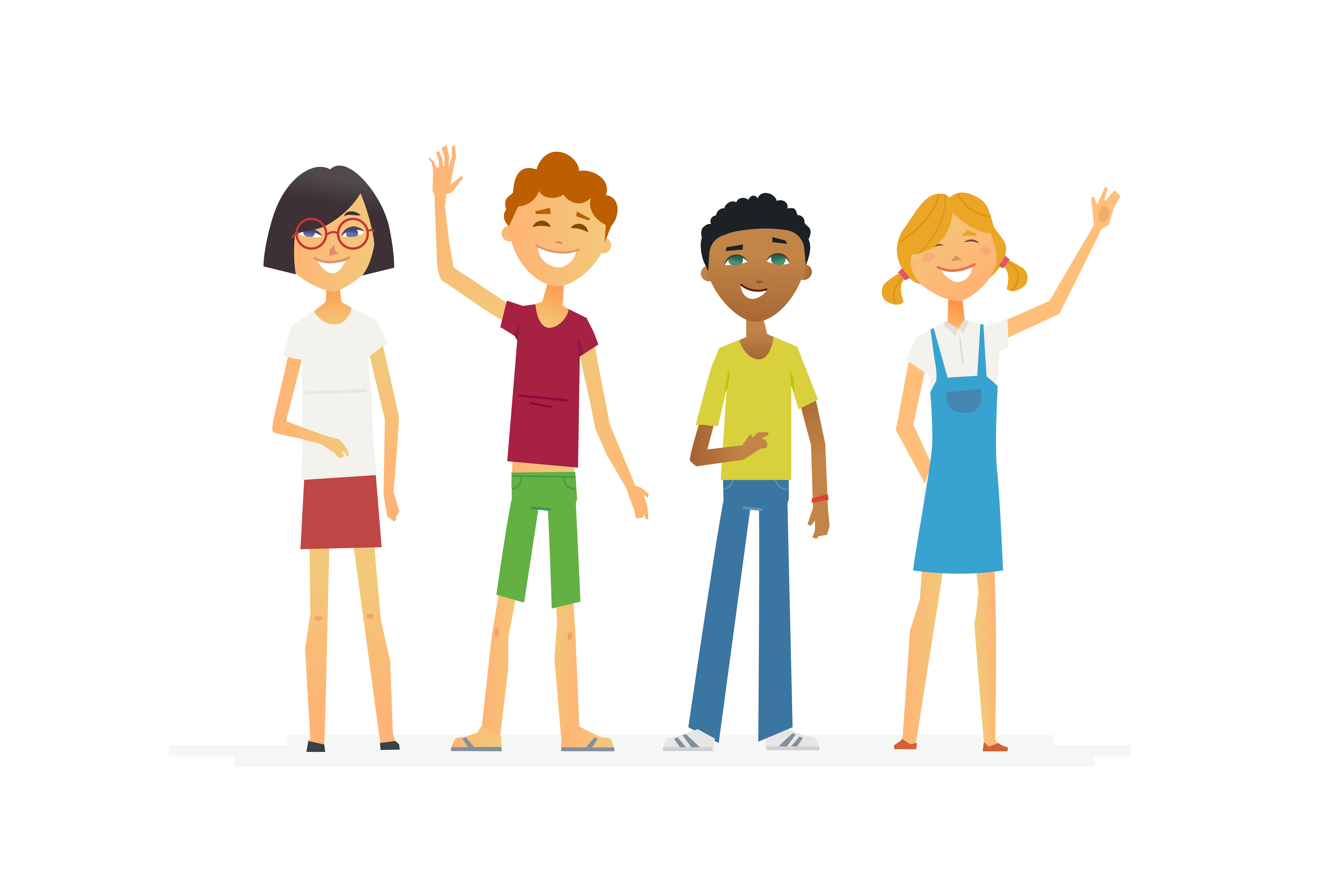 Happy standing schoolchildren - cartoon people characters isolated illustration. Smiling boys and girls waving hands. Make a great presentation with these international students