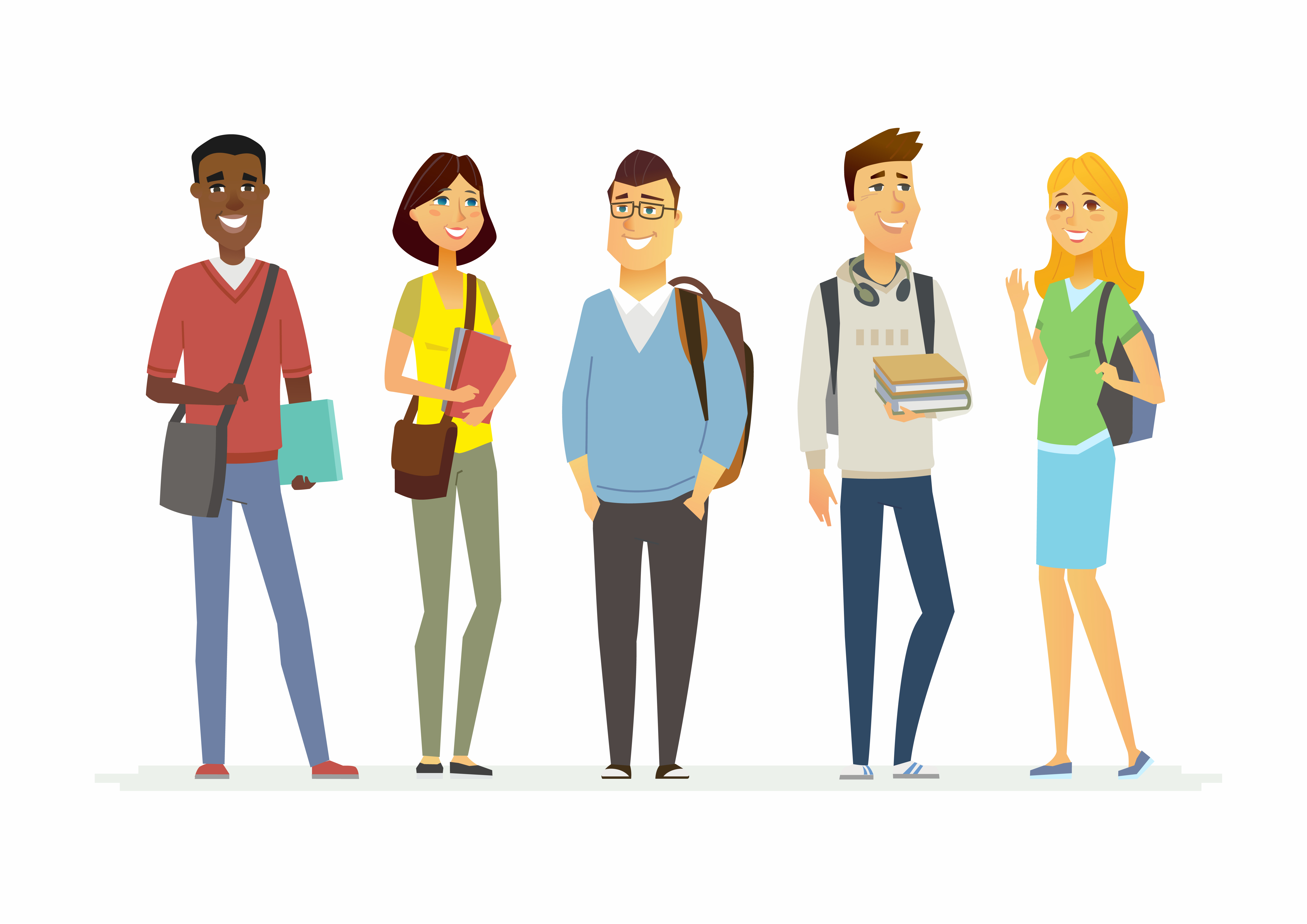 Happy senior school students - cartoon people characters isolated illustration. Smiling boys and girls with books and bags. Make a great presentation with these international cheerful teenagers